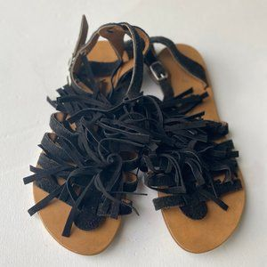 J/Slides  NYC Black Fringe Sandals